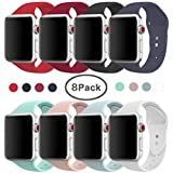 AdMaster Compatible for Apple Watch Band 38mm, Soft Silicone Replacement Wristband Classic Sport Strap Compatible for iWatch Apple Watch Series1, Series 2, Series 3, Edition, Nike+, S/M Size 8 Pack