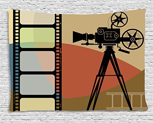 Movie Theater Tapestry, Abstract Retro Style Colorful Composition with Projection and Strip Border, Wall Hanging for Bedroom Living Room Dorm, 60 W X 40 L Inches, Multicolor