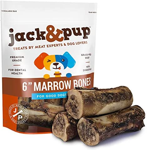 Jack Pup Premium Grade Roasted Beef Marrow Bone Treats 3 Pack 6 Long All Natural Gourmet Dog Treat Chews Savory Smoked Beef Flavor