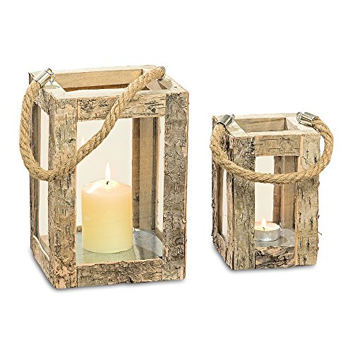 WHW Whole House Worlds Rustic Birch Hurricane Candle Lanterns, Set of 2, Rope Handle, Galvanized Metal, Glass, Bark and Wood, 4 and 6 Inches Tall, from Our Made by Nature Collection