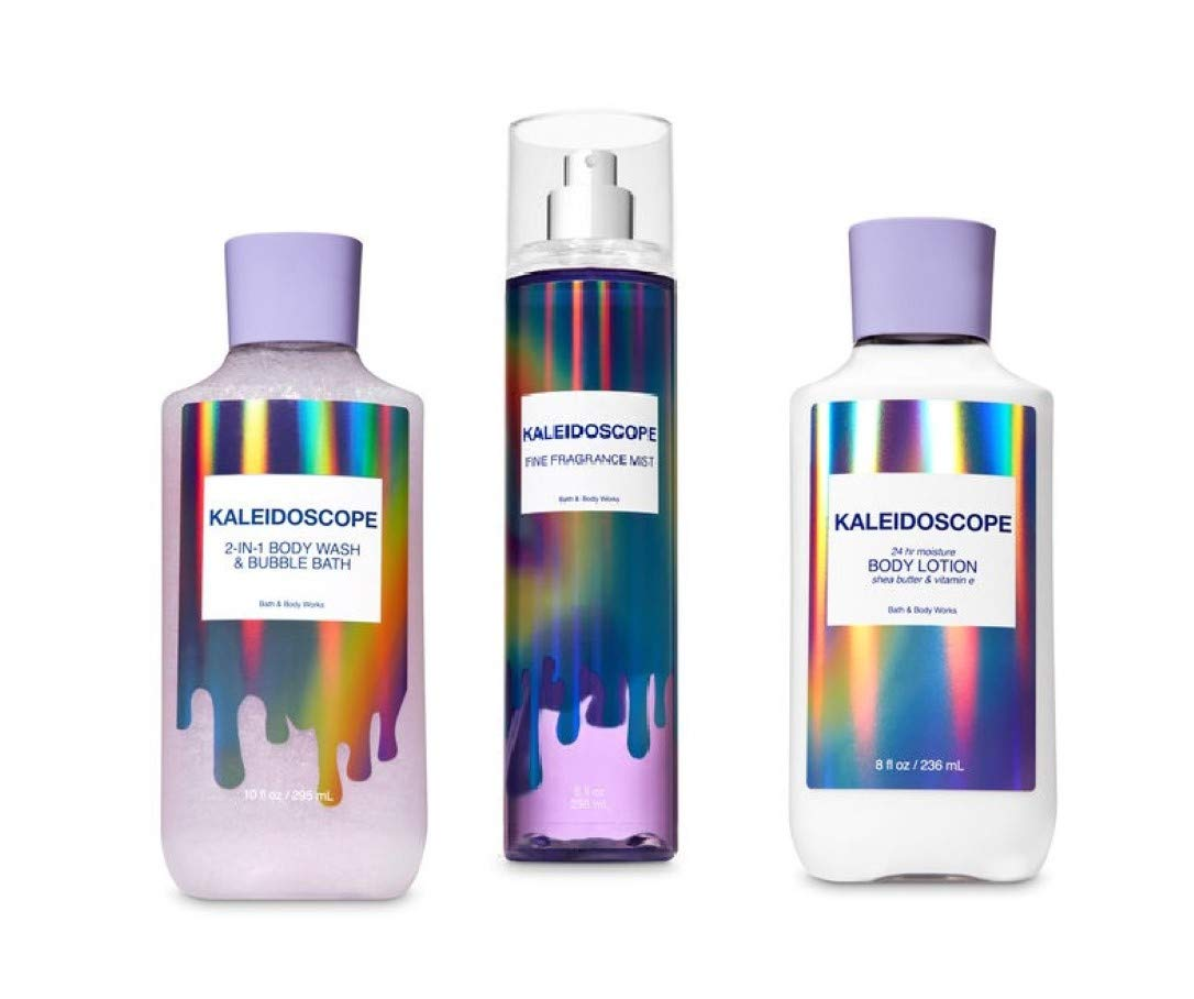 Bath and Body 2019 Kaleidoscope 2-in-1 Bubble Bath & Body Wash - Fine Fragrance Mist and Super Smooth Body Lotion Gift Set