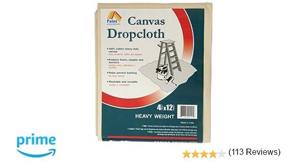 paint essentials 4feet x 12feet canvas drop cloth hw412 amazoncom