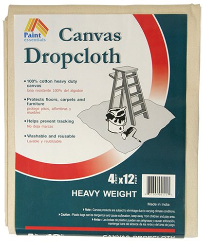Paint Essentials 4-Feet x 12-Feet Canvas Drop Cloth HW412