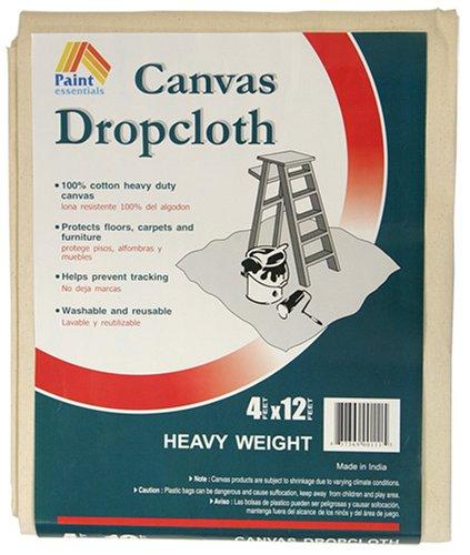 Paint Essentials 4-Feet x 12-Feet Canvas Drop Cloth HW412 Galaxy Products