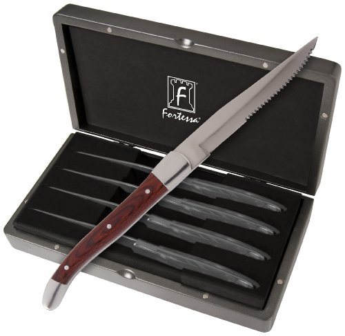 Fortessa Provencal 4-Piece Serrated Steak Knife Set with Box, 9.25-Inch, Dark Wood Handle ()