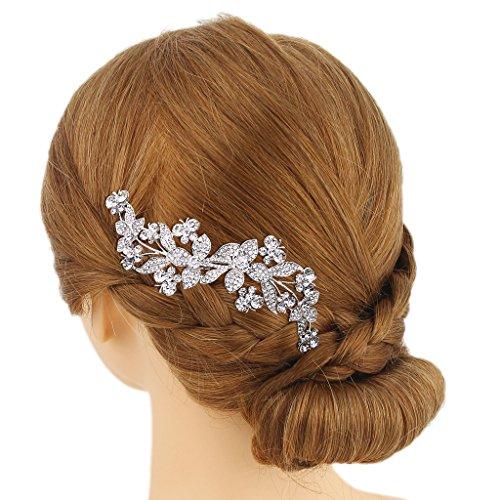 Ever Faith - Plaqué Argent Cristal Autrichien Fleur Mariage Peigne à Cheveux Clair N07557-1