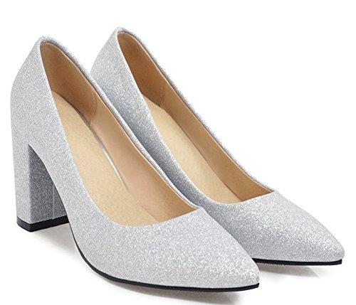 Easemax Femme Chic Chaussure Pointue Basse Slip on Banquet Escarpins Argent FAZ2cFo7