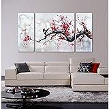 Jojospring 'Red Plum Blossom' 3-Piece Gallery-Wrapped Canvas Art Set