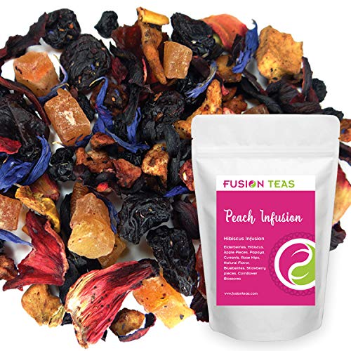 - Peach Infusion Hibiscus Herbal Fruit Tea - Caffeine Free Loose Leaf Bulk Herbs and Flowers - 5 Oz Pouch