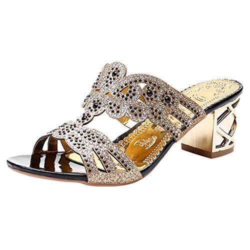 New in Respctful✿Women's Fashion Rhinestone Wedge Slide Sandals Casual Open Toe Embellished Evening Prom Party Slipper Shoes Black