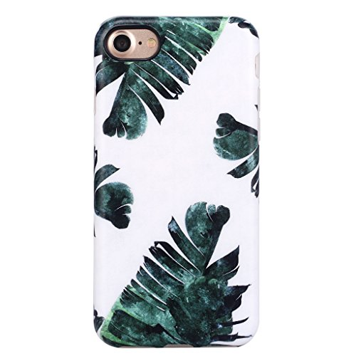 Flexible Girl - iPhone 7 Case for Girls/iPhone 8 Floral Case, GOLINK Floral Series MATTE Finish Slim-Fit Anti-Scratch Shock Proof Anti-Finger Print Flexible TPU Gel Case For iPhone 7/8 - Green Leaf