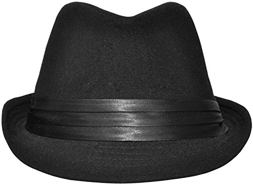 - Simplicity Short Brim Teardrop Crown Wool Blend Fedora Hat 3076_Black
