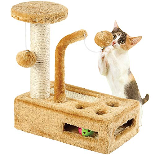 ETNA PRODUCTS CO Complete Kitty Play Gym Balls & Bells, Peek-A-Boo Holes and Scratching Post (Overalls Smith Cotton)