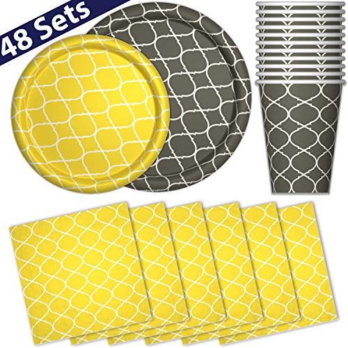 Yellow And Gray Paper Plates (Paper Dinnerware Set for 48 - Gray & Yellow - Dinner Plates, Dessert Plates, Cups, Napkins - Heavy Duty Disposable Tableware Dishes for Parties with Lattice)