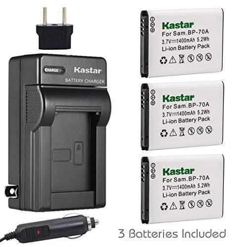 Kastar Battery 3x + Charger for Samsung BP-70A BP70A ST90 ST95 ST100 ST150F ST700 ST6500 SL50 SL600 SL605 SL630 WB30F WB35F WB50F ES70 ES80 MV800 DV150F PL20 PL80 PL120 PL170 PL200 TL105 TL110 TL205