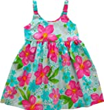 RJC Girls Watercolor Hibiscus Bungee Dress 2pc Set Blue 12 Months