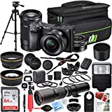 Sony a6300 4K Mirrorless Camera ILCE-6300L/B (Black) with 16-50mm & 55-210mm Lens and 500mm Preset f/8 Telephoto Lens + 0.43x Wide Angle, 2.2X Pro Bundle