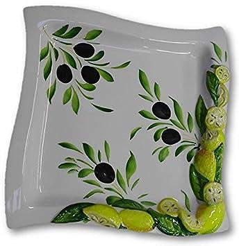 Bassano Italienische Keramik Teller Platte Quadratisch Olive Zitrone