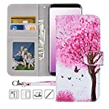 Galaxy S9 Wallet Case,Galaxy S9 Case,MagicSky Premium PU Leather Flip Folio Case Cover with Wrist Strap, Card Holder,Cash Pocket,Kickstand for Samsung Galaxy S9(Pink Tree)