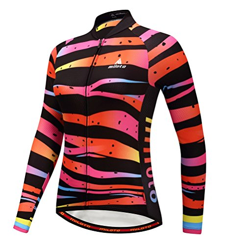 Uriah Women's Cycling Jersey Long Sleeve Reflective Zebra Lines Size XL(CN) (3 Feet Jersey Cycling)
