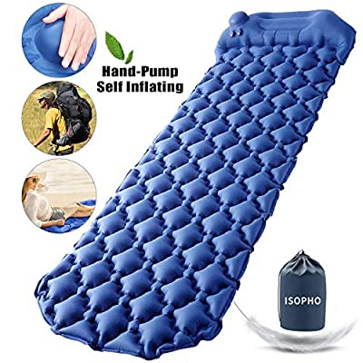 ISOPHO Camping Sleeping Pad with Built-in Pump Lightweight Self-Inflatable Sleeping Mat with Pillow Connectable Waterproof Camping Mattress for Backpacking, Traveling, Hiking