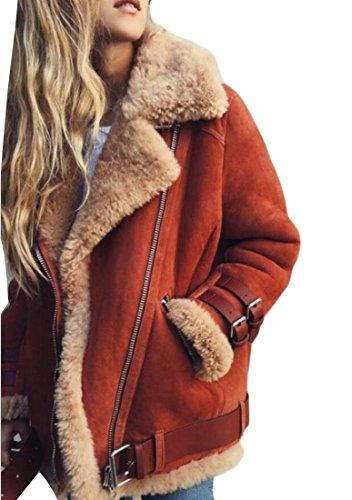 - YONGM Womens Winter Warm Faux Suede Fleece Lined Biker Jacket Coats Red L