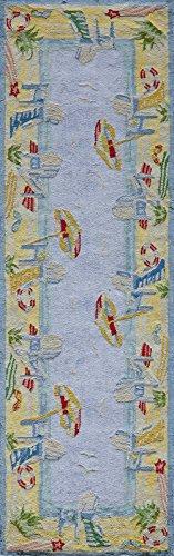 (Momeni Rugs COASTCC-03LBL2680 Coastal Collection, 100% Cotton Hand Hooked Transitional Area Rug, 2'6