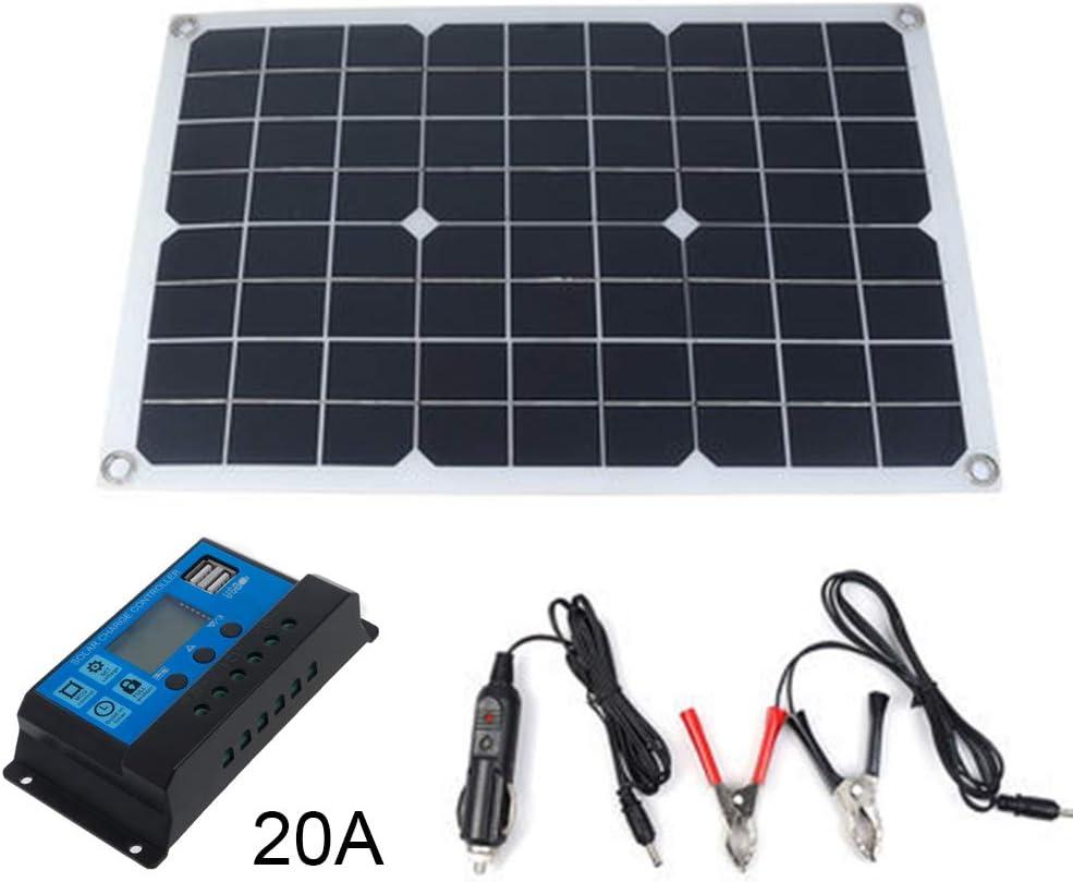 BIlinli Pannello Solare Caricabatterie Solare Protable 20W Kit Flessibile Pannello Solare Kit Emergenza policristallino Elettrico 18V Scheda per Camper Domestico 2