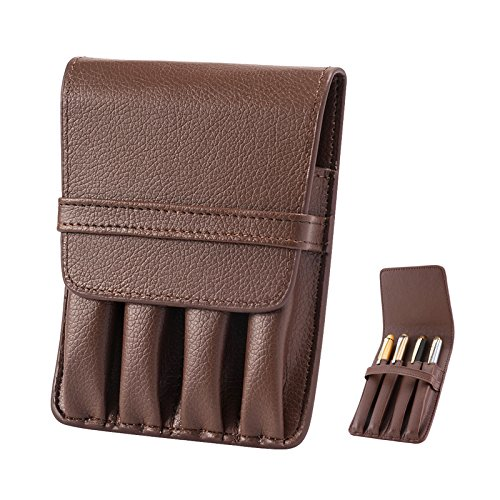 Topoomart Pen Pouch Case PU Leather Holder for 4 Fountain Rollerball Pen Storage Separate Slot (Four Pen Case)