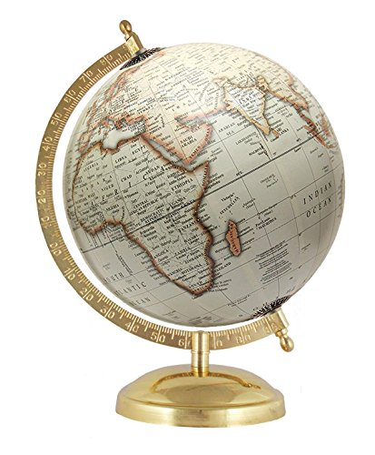 (MasterpieceIndia 8 Inches Diameter Earth Home Decor Rotating Globe Decorative Off-White Handmade Antique Gift)
