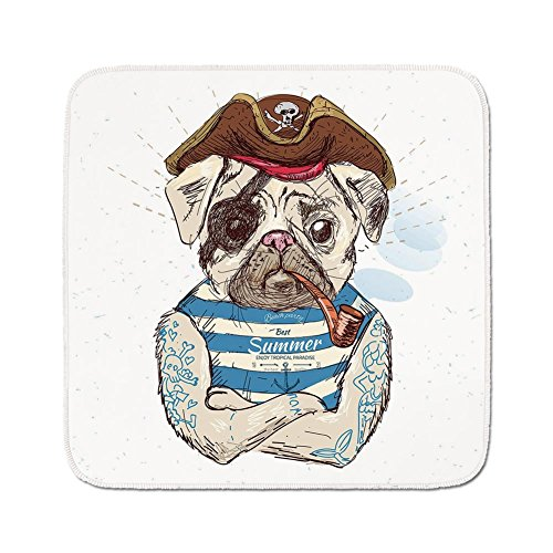 Cozy Seat Protector Pads Cushion Area Rug,Pug,Pirate Pug Conqueror of the Seas Pipe Skulls and Bones Hat Striped Sleeveless T Shirt Decorative,Brown Blue,Easy to Use on Any Surface