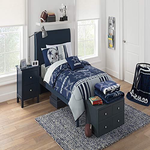 4 Piece NFL Cowboys Theme Comforter with Sheets Twin Set, Blue Grey Football Themed Bedding Sports Patterned, Team Logo Fan Merchandise Athletic Team Spirit Fan, Polyester, For Unisex