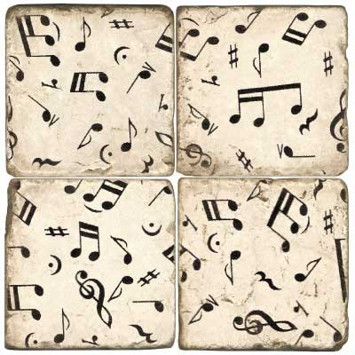 Music Notes Marble Coaster (Christmas Muic)