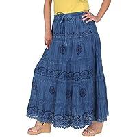 kayjaystyles Full Length Womens Solid bordado gitano bohemio largo algodón falda