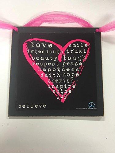 Hot Pink Heart Wooden Teen Girls Bedrrom Wall Art Sign Love Friendship Trust Peace Happiness Faith Hope - Hot Heart Pink