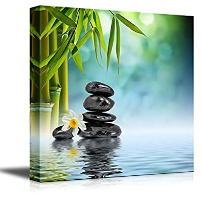 Canvas Prints Wall Art - Relaxing Scene of Stones and Bamboo on Water | Modern Wall Decor/Home Decoration Stretched Gallery Canvas Wrap Giclee Print. Ready to Hang - 24