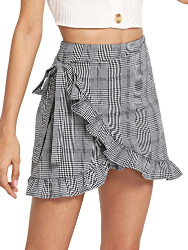 WDIRARA Women's Asymmetrical Ruched Frill Trim Staggered Gingham Casual Skirt Grey-1 XS