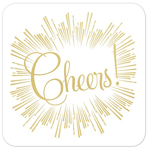 Cheer Chipboard - Masterpiece Studios 8-Count Gold Foil Party Coasters, Cheers