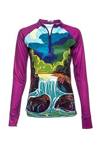 Bold Babe Women's Sun Protective Long Sleeve Zip Neck - SPF Clothing Perfect for Enjoying The Outdoors - The Creek (Small) (Tee Ladies Sleeve Babe Long)