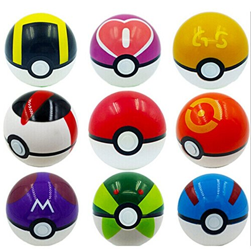 9 Pieces Plastic Super Anime Figures Balls for Pokemon Kids Toys Balls Photo