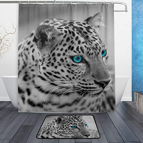 A/c Hose Jaguar (LORVIES Black and White Jaguar Bathroom Set, Polyester Fabric Shower Curtain (60X72 Inch) with Bath Mats Rugs(15.7 X 23.6 Inch)-12 Rings)