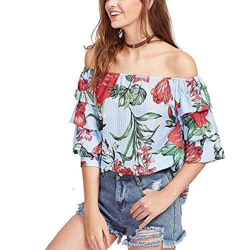 La Sra verano hombro palabra de moda camisa de gasa quinta manga de la camiseta floja de la blusa picture color