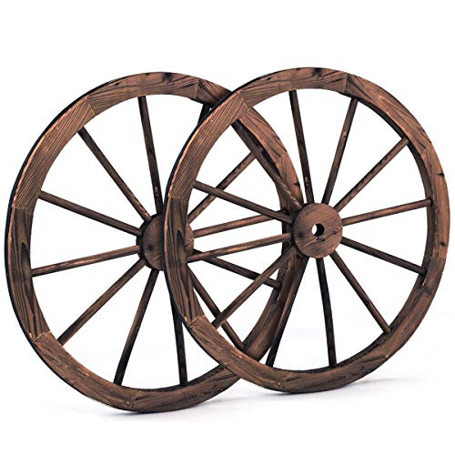 Giantex 30-Inch Set of Two Decorative Wooden Wheel, Decorative Wall Old Western Style Wooden Garden Wagon Wheel with Steel Rim, Fir Treated by Carbonization, Suitable for Bar, Studio and Home (30'') ()
