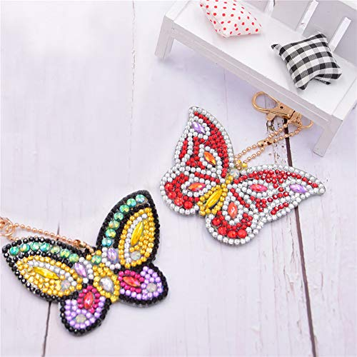 (5 PCS 5D DIY Full Drill Christmas Diamond Painting Kits for Kids and Adult, Stick Paint with Diamonds by Numbers Easy to DIY Keychain Pendant Kits for DIY Art Craft (Butterfly, 2 PCS))