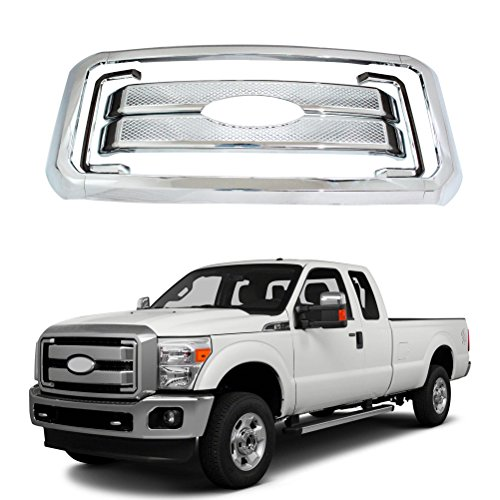 NINTE Grill Covers for Ford F-250 F-350 F-450 Super Duty - ABS Chrome Front Bumper Hood Grille Cover - 8pcs