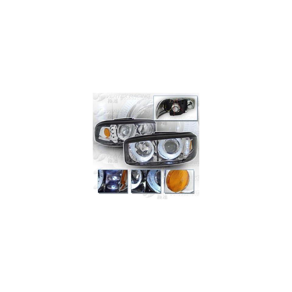 99 06 GMC YUKON DENALI SIERRA Dual Halo Projector Headlights   Chrome