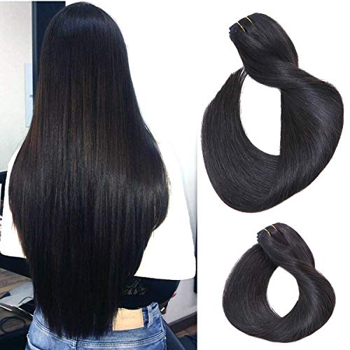 Labetti Clip In Human Hair Extensions Natural Black 7A Grade