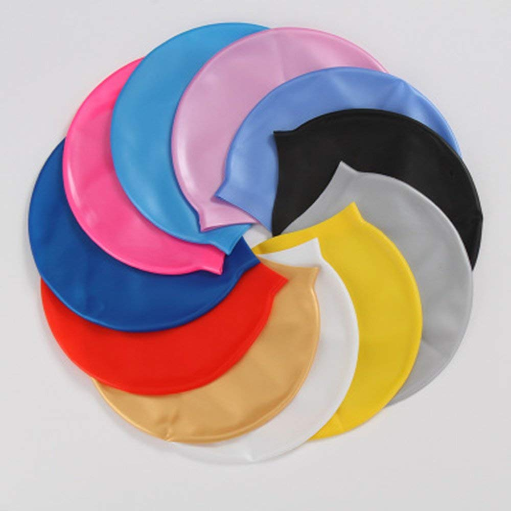 Silicone Waterproof Swimming Caps Protect Ears Long Hair Sports Swim Pool Hat Gold