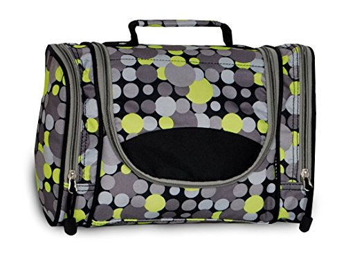 Everest Deluxe Toiletry Bag, Yellow/Gray Dot
