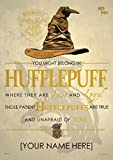 MightyPrint Harry Potter Sorting Hat - Hufflepuff House - Personalized with Your Name Wall Art Decor - Next Generation Premium Print - Featuring Hogwarts House Quote Poem